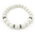 White Ceramic Bead Necklace, Flex Bracelet & Drop Earrings With Crystal Ring Set In Silver Tone - 44cm Length/ 6cm Extension - view 7