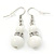 White Ceramic Bead Necklace, Flex Bracelet & Drop Earrings With Crystal Ring Set In Silver Tone - 44cm Length/ 6cm Extension - view 8