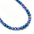 Navy Blue Glass Bead With Crystal Rings Necklace, Flex Bracelet & Drop Earrings Set In Silver Tone - 44cm L/ 5cm Ext - view 12
