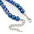 Navy Blue Glass Bead With Crystal Rings Necklace, Flex Bracelet & Drop Earrings Set In Silver Tone - 44cm L/ 5cm Ext - view 6