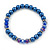 Navy Blue Glass Bead With Crystal Rings Necklace, Flex Bracelet & Drop Earrings Set In Silver Tone - 44cm L/ 5cm Ext - view 7