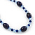 Royal Blue/ Light Blue Ceramic, Glass Bead Necklace, Flex Bracelet & Drop Earrings Set In Silver Tone - 42cm L/ 4cm Ext - view 12
