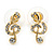 Clear Austrian Crystal Treble Clef Pendant With Gold Tone Chain and Stud Earrings Set - 46cm L/ 5cm Ext - Gift Boxed - view 7