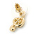 Clear Austrian Crystal Treble Clef Pendant With Gold Tone Chain and Stud Earrings Set - 46cm L/ 5cm Ext - Gift Boxed - view 10