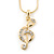 Clear Austrian Crystal Treble Clef Pendant With Gold Tone Chain and Stud Earrings Set - 46cm L/ 5cm Ext - Gift Boxed - view 8