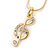 Clear Austrian Crystal Treble Clef Pendant With Gold Tone Chain and Stud Earrings Set - 46cm L/ 5cm Ext - Gift Boxed - view 11