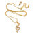 Clear Austrian Crystal Treble Clef Pendant With Gold Tone Chain and Stud Earrings Set - 46cm L/ 5cm Ext - Gift Boxed - view 12
