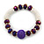 Light Silver Snowflake Metal Rings with Purple Glass Beads Necklace with Magnetic Closure (42cmL), Flex Bracelet (17cmL) and Drop Earring (35mm L) Set - view 9