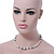 Off Round Cream Freshwater Pearl with Turquoise Bead Necklace and Stud Earrings Set In Silver Tone - 44cm L/ 8mm D - view 2