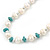 Off Round Cream Freshwater Pearl with Turquoise Bead Necklace and Stud Earrings Set In Silver Tone - 44cm L/ 8mm D - view 15