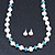 Off Round Cream Freshwater Pearl with Turquoise Bead Necklace and Stud Earrings Set In Silver Tone - 44cm L/ 8mm D - view 6