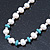 Off Round Cream Freshwater Pearl with Turquoise Bead Necklace and Stud Earrings Set In Silver Tone - 44cm L/ 8mm D - view 13