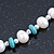Off Round Cream Freshwater Pearl with Turquoise Bead Necklace and Stud Earrings Set In Silver Tone - 44cm L/ 8mm D - view 3