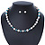 Off Round Cream Freshwater Pearl with Turquoise Bead Necklace and Stud Earrings Set In Silver Tone - 44cm L/ 8mm D - view 14