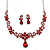 Bridal/ Prom/ Wedding Ruby Red Austrian Crystal Floral Necklace And Earrings Set In Silver Tone - 46cm L/ 5cm Ext