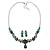 Bridal/ Prom/ Wedding Green Austrian Crystal Floral Necklace And Earrings Set In Silver Tone - 46cm L/ 5cm Ext - view 9