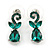 Bridal/ Prom/ Wedding Green Austrian Crystal Floral Necklace And Earrings Set In Silver Tone - 46cm L/ 5cm Ext - view 7