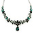 Bridal/ Prom/ Wedding Green Austrian Crystal Floral Necklace And Earrings Set In Silver Tone - 46cm L/ 5cm Ext - view 11