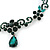 Bridal/ Prom/ Wedding Green Austrian Crystal Floral Necklace And Earrings Set In Silver Tone - 46cm L/ 5cm Ext - view 8