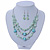 Mint Green Glass & Ceramic Bead Multi Strand Wire Necklace & Drop Earrings Set In Silver Tone - 48cm L/ 4cm Ext - view 2