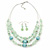 Mint Green Glass & Ceramic Bead Multi Strand Wire Necklace & Drop Earrings Set In Silver Tone - 48cm L/ 4cm Ext - view 6