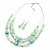 Mint Green Glass & Ceramic Bead Multi Strand Wire Necklace & Drop Earrings Set In Silver Tone - 48cm L/ 4cm Ext - view 8