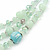 Mint Green Glass & Ceramic Bead Multi Strand Wire Necklace & Drop Earrings Set In Silver Tone - 48cm L/ 4cm Ext - view 9