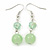 Mint Green Glass & Ceramic Bead Multi Strand Wire Necklace & Drop Earrings Set In Silver Tone - 48cm L/ 4cm Ext - view 5
