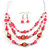 Pink/ Transparent Glass & Ligth Brown Ceramic Bead Multi Strand Wire Necklace & Drop Earrings Set In Silver Tone - 48cm L/ 4cm Ext - view 2