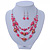 Pink/ Transparent Glass & Ligth Brown Ceramic Bead Multi Strand Wire Necklace & Drop Earrings Set In Silver Tone - 48cm L/ 4cm Ext - view 3