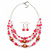 Pink/ Transparent Glass & Ligth Brown Ceramic Bead Multi Strand Wire Necklace & Drop Earrings Set In Silver Tone - 48cm L/ 4cm Ext - view 10