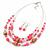 Pink/ Transparent Glass & Ligth Brown Ceramic Bead Multi Strand Wire Necklace & Drop Earrings Set In Silver Tone - 48cm L/ 4cm Ext - view 9