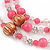 Pink/ Transparent Glass & Ligth Brown Ceramic Bead Multi Strand Wire Necklace & Drop Earrings Set In Silver Tone - 48cm L/ 4cm Ext - view 4