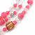 Pink/ Transparent Glass & Ligth Brown Ceramic Bead Multi Strand Wire Necklace & Drop Earrings Set In Silver Tone - 48cm L/ 4cm Ext - view 7