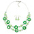 Lime Green Shell & Glass, Crystal Floating Bead Necklace & Drop Earring Set - 46cm L/ 4cm Ext - view 6