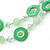 Lime Green Shell & Glass, Crystal Floating Bead Necklace & Drop Earring Set - 46cm L/ 4cm Ext - view 2
