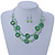 Lime Green Shell & Glass, Crystal Floating Bead Necklace & Drop Earring Set - 46cm L/ 4cm Ext - view 3