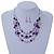 Pink/ Purple/ Violet Glass & Enamel Bead Multi Strand Wire Necklace & Drop Earrings Set In Silver Tone - 44cm L/ 3cm Ext - view 6