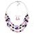 Pink/ Purple/ Violet Glass & Enamel Bead Multi Strand Wire Necklace & Drop Earrings Set In Silver Tone - 44cm L/ 3cm Ext - view 7
