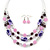 Pink/ Purple/ Violet Glass & Enamel Bead Multi Strand Wire Necklace & Drop Earrings Set In Silver Tone - 44cm L/ 3cm Ext