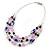Pink/ Purple/ Violet Glass & Enamel Bead Multi Strand Wire Necklace & Drop Earrings Set In Silver Tone - 44cm L/ 3cm Ext - view 8