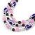 Pink/ Purple/ Violet Glass & Enamel Bead Multi Strand Wire Necklace & Drop Earrings Set In Silver Tone - 44cm L/ 3cm Ext - view 2