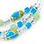 Mint/ Olive/ Light Blue Glass & Enamel Bead Multi Strand Wire Necklace & Drop Earrings Set In Silver Tone - 44cm L/ 3cm Ext - view 7
