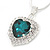 Emerald Green/ Clear Crystal Heart Pendant with Silver Tone Chain and Stud Earrings Set - 44cm L/ 6cm Ext - view 6