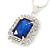 Sapphire Blue/ Clear Crystal Square Pendant with Silver Tone Chain and Stud Earrings Set - 44cm L/ 5cm Ext - view 6