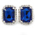 Sapphire Blue/ Clear Crystal Square Pendant with Silver Tone Chain and Stud Earrings Set - 44cm L/ 5cm Ext - view 7