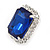Sapphire Blue/ Clear Crystal Square Pendant with Silver Tone Chain and Stud Earrings Set - 44cm L/ 5cm Ext - view 5