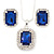 Sapphire Blue/ Clear Crystal Square Pendant with Silver Tone Chain and Stud Earrings Set - 44cm L/ 5cm Ext