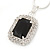 Black/ Clear Crystal Square Pendant with Silver Tone Chain and Stud Earrings Set - 44cm L/ 5cm Ext - view 3