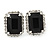 Black/ Clear Crystal Square Pendant with Silver Tone Chain and Stud Earrings Set - 44cm L/ 5cm Ext - view 7